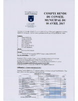 Compte rendu du Conseil Municipal du 10 avril 2017