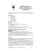 Compte rendu du Conseil Municipal du 11 mars 2017