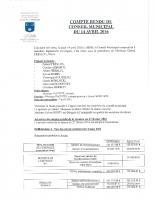 Compte rendu du conseil municipal du 14 avril 2016